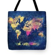 World Map Oceans And Continents Tote Bag