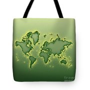 World Map Opala Square In Green And Yellow Tote Bag
