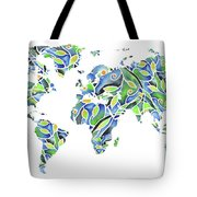 World Map Organic Green And Blue Tote Bag