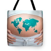 World Map Painted On Pregnant Woman's Belly Tote Bag