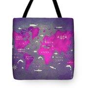 World Map Pink Tote Bag