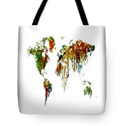 World Map Running Paint 01 Tote Bag