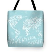 World Map White Flowers Aqua Blue Tote Bag