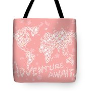 World Map White Flowers Pink Tote Bag