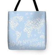 World Map White Star Pastel Blue Tote Bag