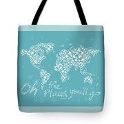 World Map White Star Turquoise Tote Bag