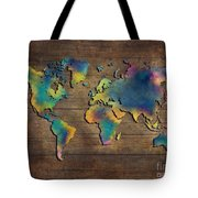 World Map Wood Tote Bag