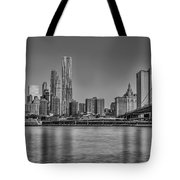 World Trade Center And The Brooklyn Bridge Bw Tote Bag