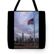 World Trade Center Freedom Tower New York City American Flag Tote Bag