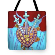 World Turtle Three Of Swords Tote Bag
