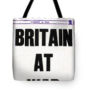 World War I Headline, 1914 Tote Bag