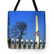 World War II Memorial And Washington Monument Tote Bag