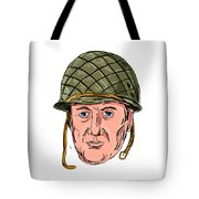 World War Two American Soldier Head Drawing Tote Bag