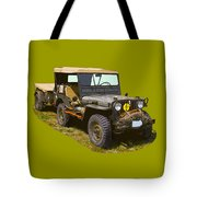 World War Two Army Jeep With Trailer  Tote Bag