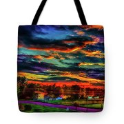 World's Most Psychedelic Autumn Sunsset Tote Bag