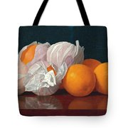 Wrapped Oranges On A Tabletop Tote Bag