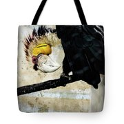 Wreathed Hornbill Perching Against Vintage Concrete Wall Backgro Tote Bag