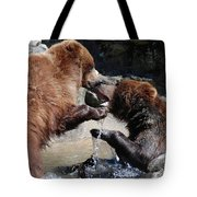Wrestling Grizzly Bears In A Shallow River Tote Bag