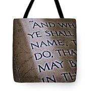 Written In Stone Tote Bag