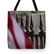 Wrought Iron And American Flag Tote Bag