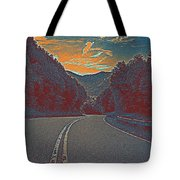 Wynding Road In Between Trees Tote Bag