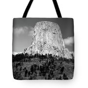 Wyoming Devils Tower National Monument With Climbers Bw Tote Bag