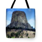 Wyoming Devils Tower With 8 Climbers August 7th 12 36pm 2016 With Inserts Tote Bag