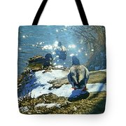 Wyoming Morning At The River Tote Bag
