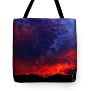 Wyoming Sunset On Fire Tote Bag