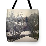 Wyoming Winter Window Reflections Tote Bag