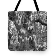 Wysteria Tree In Black And White Tote Bag