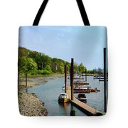 Yacht Harbor On The River. Film Effect Tote Bag