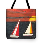 Yacht Racing Tote Bag