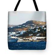 Yachts Docked At Port Skala Greece On Patmos Island Tote Bag