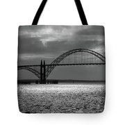 Yaquina Bay Bridge Black And White Tote Bag