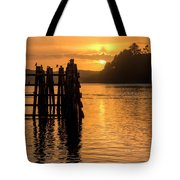 Yaquina Bay Sunset - Vertical Tote Bag