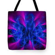 Yarn In Space - Fractal Art Blue And Pink Tote Bag