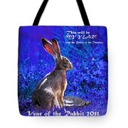 Year Of The Rabbit 2011 . Square Blue Tote Bag