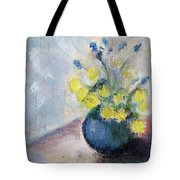 Yello Flowers In Blue Vaze Tote Bag