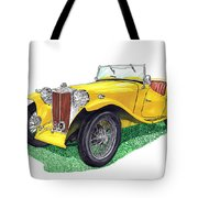 Yellow 1949 M G T C Midget Tote Bag