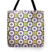 Yellow And Blue Circle Tile Tote Bag