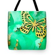 Yellow And Green Butterfly Tote Bag