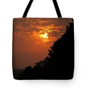Yellow And Orange Sunset With Tree Silhouette On Bottom And Right Tote Bag