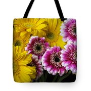 Yellow And Pink Gerbera Daisies Tote Bag