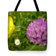 Yellow And Purple Flowers Tote Bag