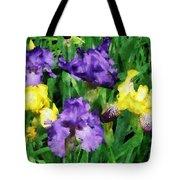 Yellow And Purple Irises Tote Bag