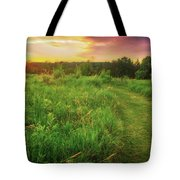 Retzer Nature Center - Yellow And Purple Summer Sunset  Tote Bag