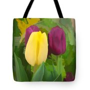 Yellow And Purple Tuilps Tote Bag