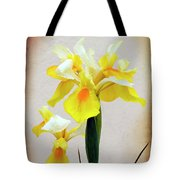 Yellow And White Iris Textured Tote Bag