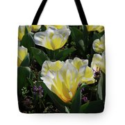 Yellow And White Tulips Flowering In A Garden Tote Bag